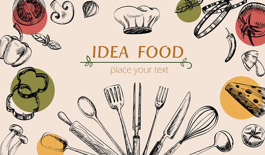 vegetable and kitchenware drawing cover web