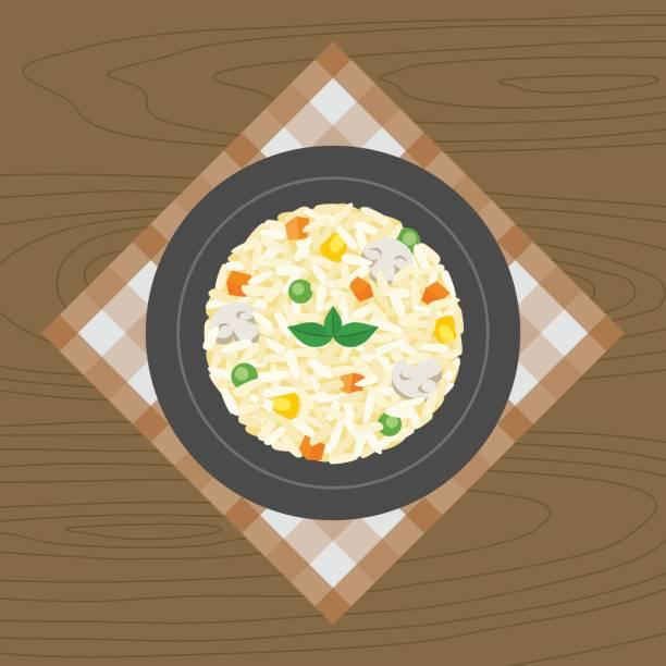 gemüse und pilzen risotto - risotto stock-grafiken, -clipart, -cartoons und -symbole