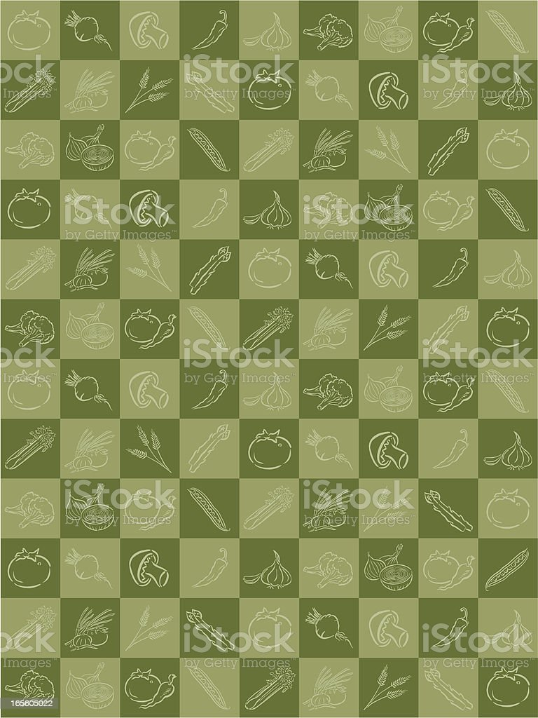 Vegetable Background - Tomato, Mushroom, Garlic royalty-free stock vector art