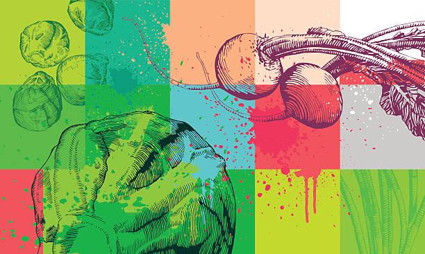 illustrazioni stock, clip art, cartoni animati e icone di tendenza di sfondo di verdure - healthy green juice