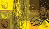 Vegetable abstract background, high detail - vector illustrtation
