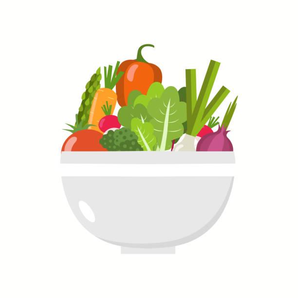 ilustrações, clipart, desenhos animados e ícones de tigela de legumes. fatias de legumes. - healthy food