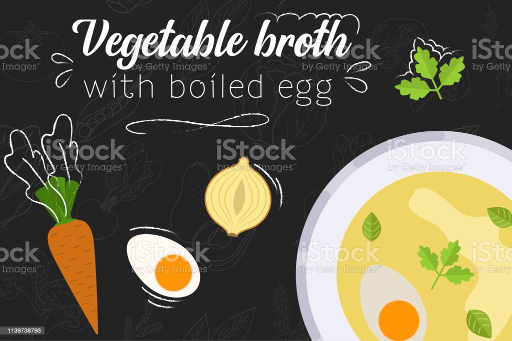 Vegetable broth with boiled egg recipe. Vegetable broth. Cooking soup...