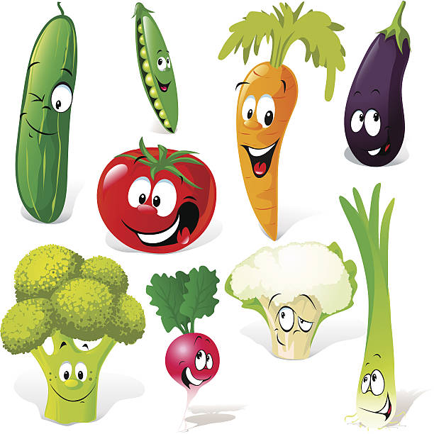 vegetable cartoon funny vegetable cartoon isolated on white background scallion stock illustrations