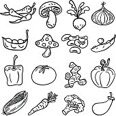 Vegetable collection in Black and White - Illustration