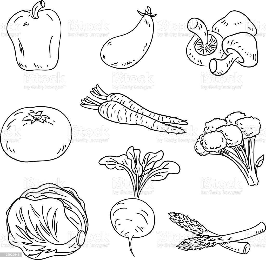 Vegetable collection in Black and White royalty-free stock vector art