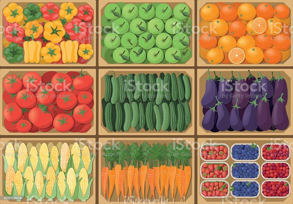 Vegetable crates vector art illustration