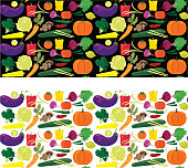 A bright and colorful pattern with a multitude of veggies, that look as good over white as over black.