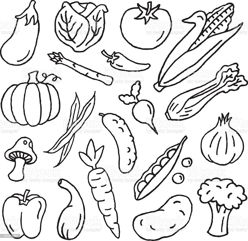 Vegetable Doodles vector art illustration