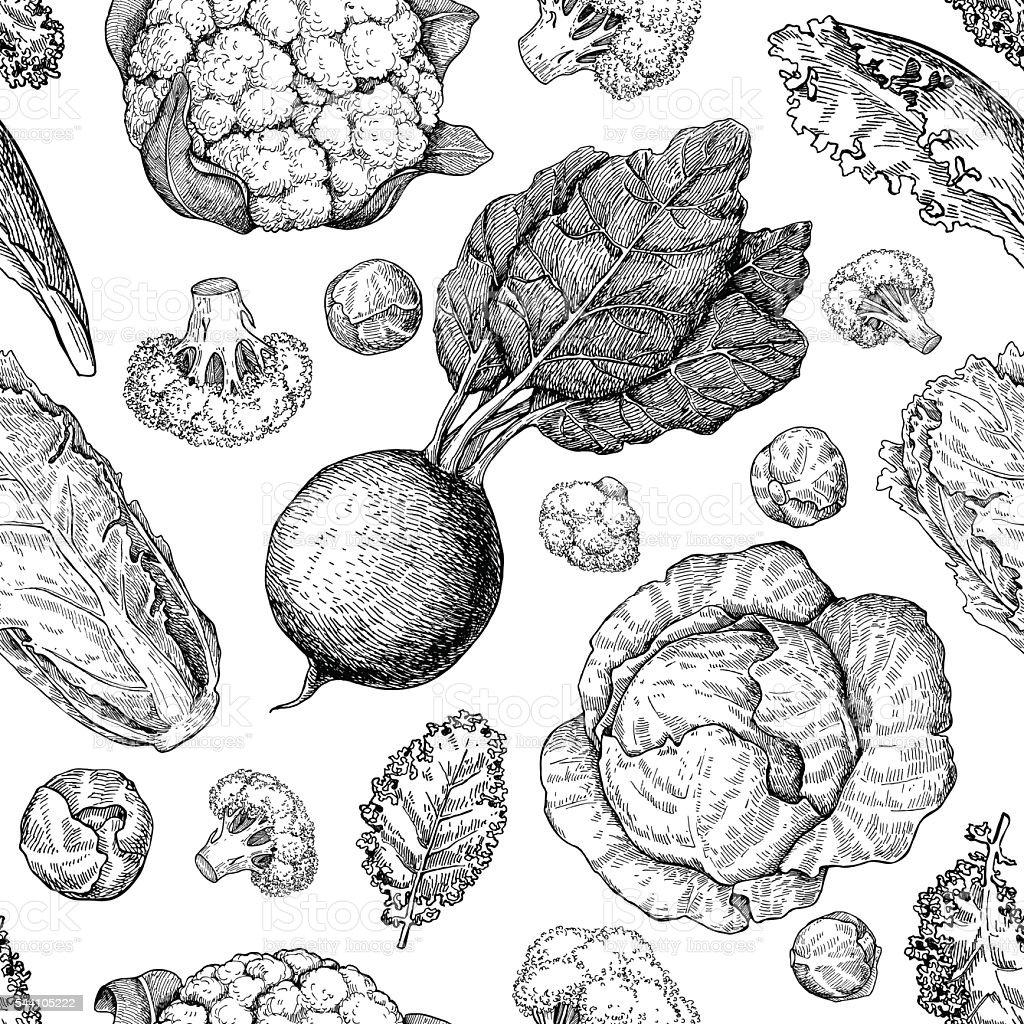 Legumes de desenho de vetor sem costura padrão. Mercado de produtos da fazenda. - ilustração de arte em vetor