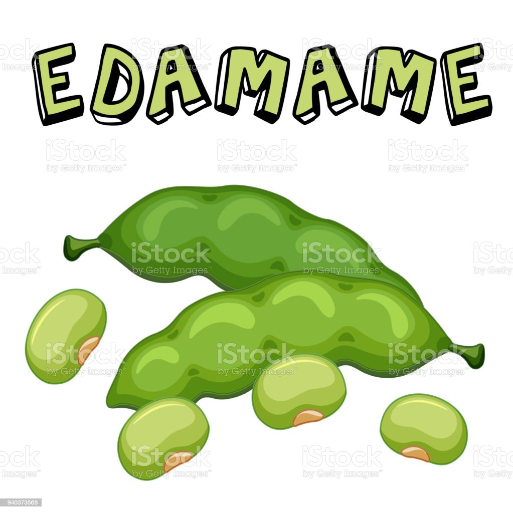 Vegetable Edamame Beans White Background Vector Image vector art illustration
