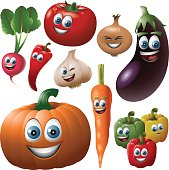 Vegetable Faces Set