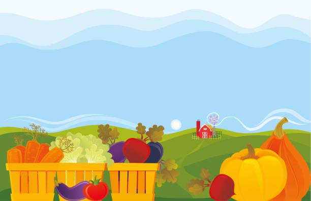 Vegetable Farm vector art illustration