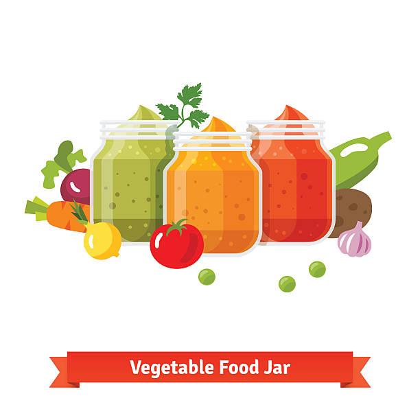 野菜料理 jars ます。赤ちゃんのピューレ - ベビーフード点のイラスト素材/クリップアート素材/マンガ素材/アイコン素材