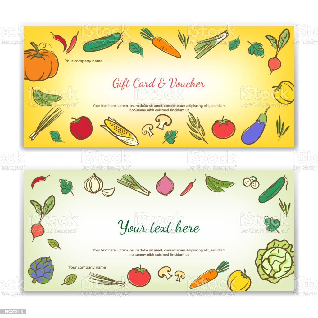 Vegetable Food Theme Gift Certificate Voucher Gift Card Or Cash
