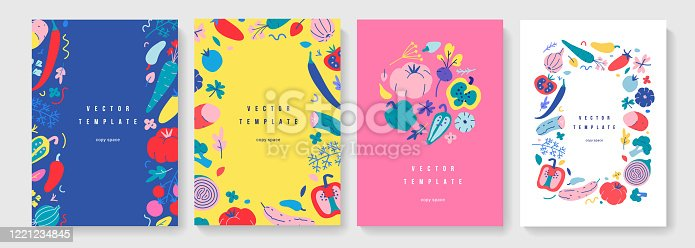 Vegetable frame collection, vertical banners or posters for farmers market or food fair, vector layouts with copy space, set of decorative borders with hand drawn illustrations of organic foods