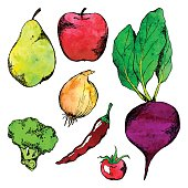 Vegetable fruit hand drawn doodle isolated set vector.