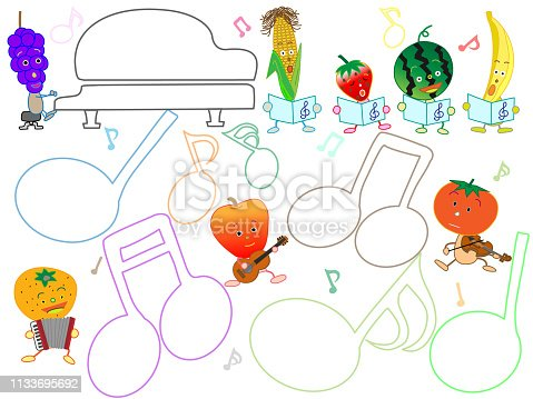 Title frame of music. Concert of vegetables and fruits.