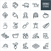 A set of vegetable gardening icons that include editable strokes or outlines using the EPS vector file. The icons include people gardening, gardener planting seeds, garden gloves, wheelbarrow, sprouting plants, seed packet, watering can, gardener, garden hose, tomatoes, green thumb, soil, plant growing, garden shovel, carrot, peas, vegetables, cultivation, fertilizer, beets, gardener raking, gardener nurturing plant, planter box and water harvesting to name a few.