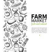 istock Vegetable hand drawn vintage vector frame illustration. Farm Market poster. Vegetarian set of organic products. 804432668