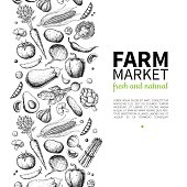 Vegetable hand drawn vintage vector illustration. Farm Market poster. Vegetarian set of organic products. Detailed food drawing. Great for menu, banner, label, , flyer
