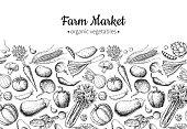 Vegetable hand drawn vintage vector illustration. Farm Market poster. Vegetarian set of organic products. Detailed food drawing. Great for menu, banner, label, logo, flyer