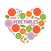 Vegetable heart in flat style