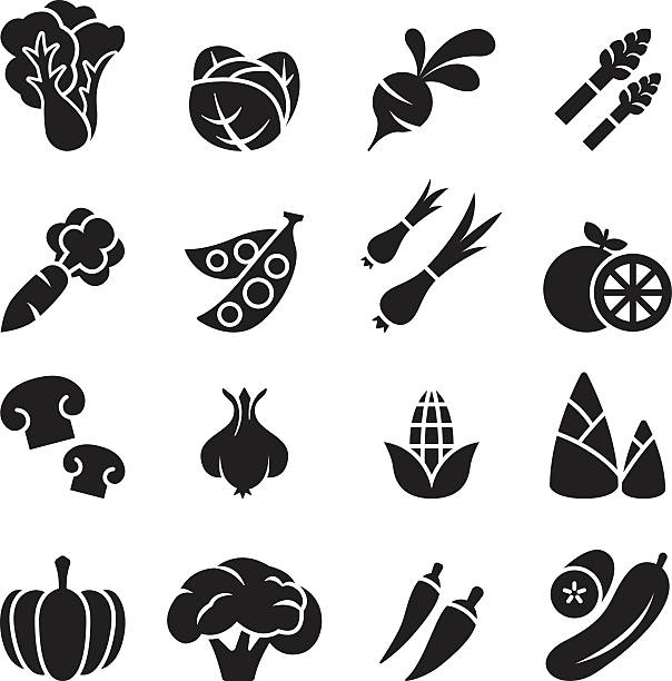 vegetable icon set 2 - lettuce stock illustrations