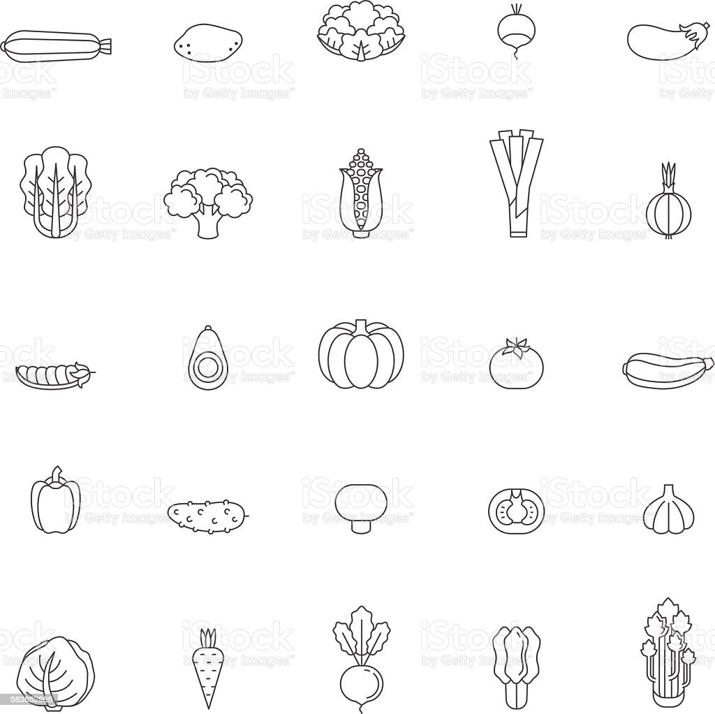 Vegetable icon set. Clean and simple outline design. vector art illustration