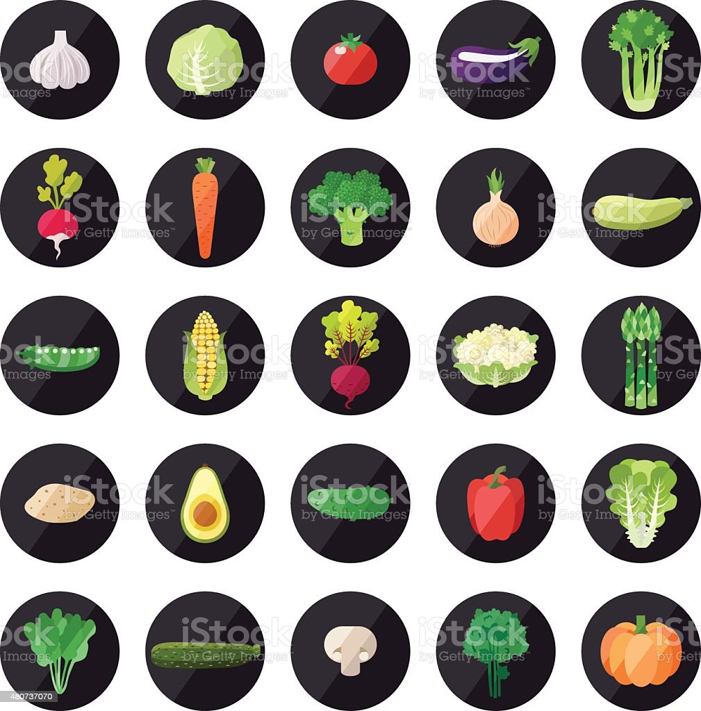Vegetable icons big vector set. Modern flat design. vector art illustration