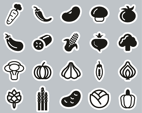 Vegetable Icons Black & White Sticker Set Big