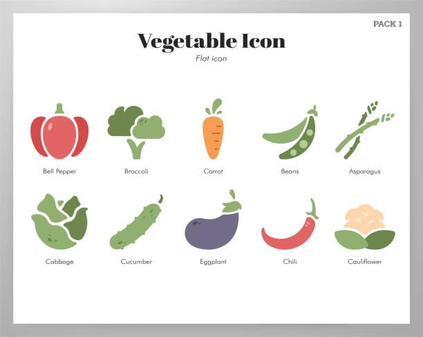 野菜アイコンフラットパック - 枝豆点のイラスト素材/クリップアート素材/マンガ素材/アイコン素材
