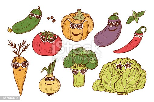 Vegetable icons set. Funny Stylish Fashion Vegetables with sunglasses. Hand drawn doodle cucumber, tomato, pumpkin, eggplant, chili pepper, carrot, onion, broccoli, cabbage