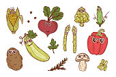 Vegetable icons set. Funny Stylish Fashion Vegetables with sunglasses. Hand drawn doodle corn, beet, zucchini, potato, artichoke, asparagus, pod green pea, bell pepper, champignon mushroom