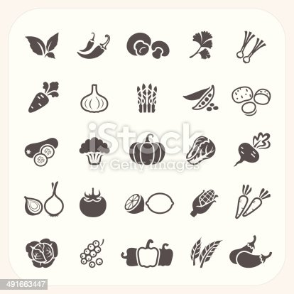 Vegetable icons set, EPS10, Don't use transparency.