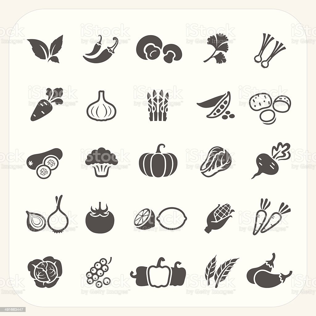 Vegetable icons set vector art illustration