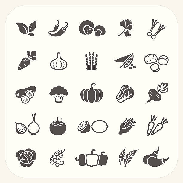 vegetable icons set - lettuce stock illustrations