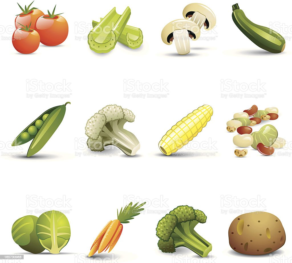 Vegetable Icons vector art illustration