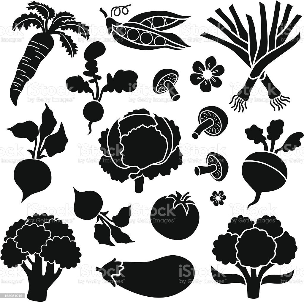 vegetable icons vector art illustration