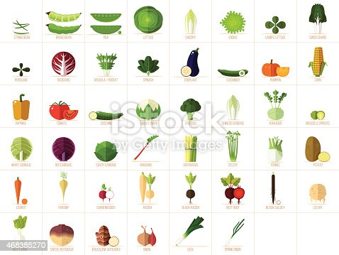 Set of 46 modern, flat vegetable illustrations/icons.