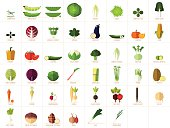 Set of 46 modern, flat vegetable illustrations/icons.