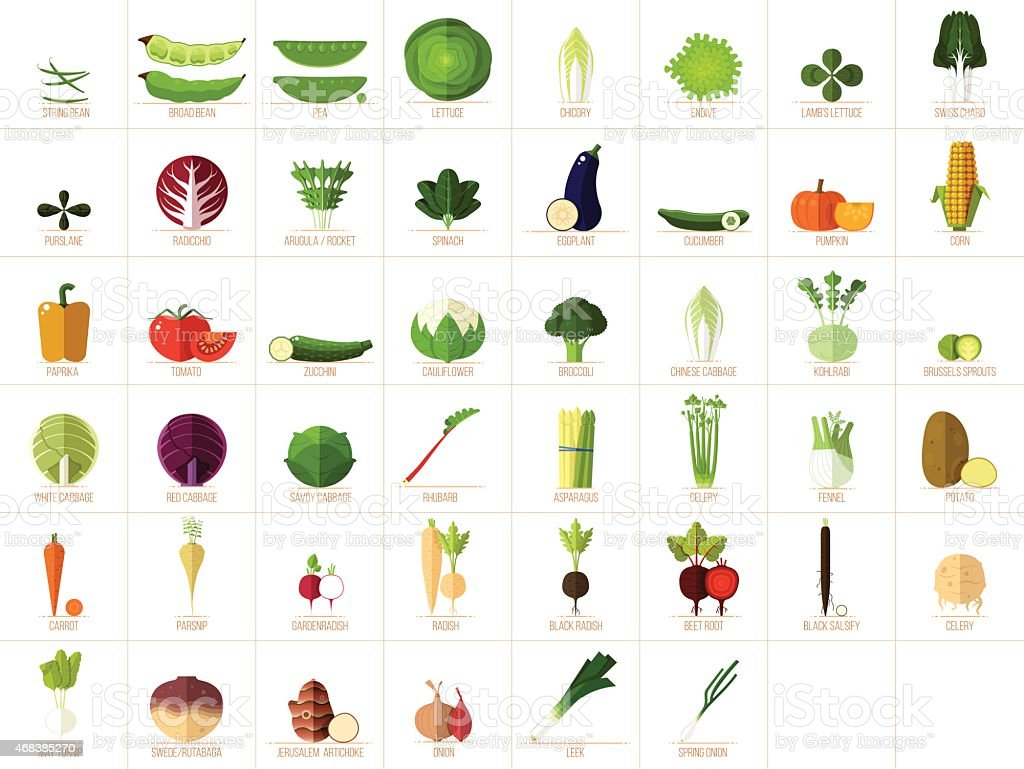 Ícones de legumes - ilustração de arte em vetor