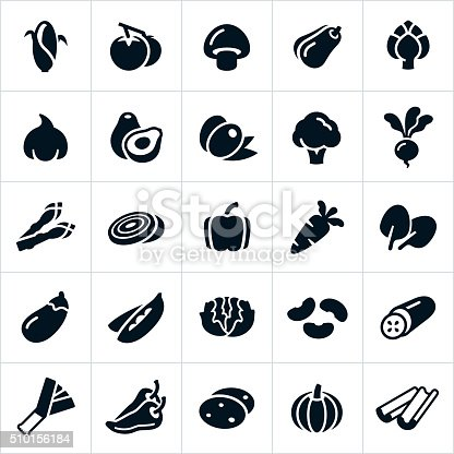A set several vegetable icons. The icons include common vegetables like corn, tomatoes, mushrooms, squash, artichoke, garlic, avocado, olives, broccoli, radish, beet, asparagus, onion, bell pepper, carrot, spinach, egg plant, peas, lettuce, beans, cucumber, leek, chili pepper, potato and celery.