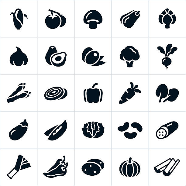Vegetable Icons A set several vegetable icons. The icons include common vegetables like corn, tomatoes, mushrooms, squash, artichoke, garlic, avocado, olives, broccoli, radish, beet, asparagus, onion, bell pepper, carrot, spinach, egg plant, peas, lettuce, beans, cucumber, leek, chili pepper, potato and celery. avocado stock illustrations