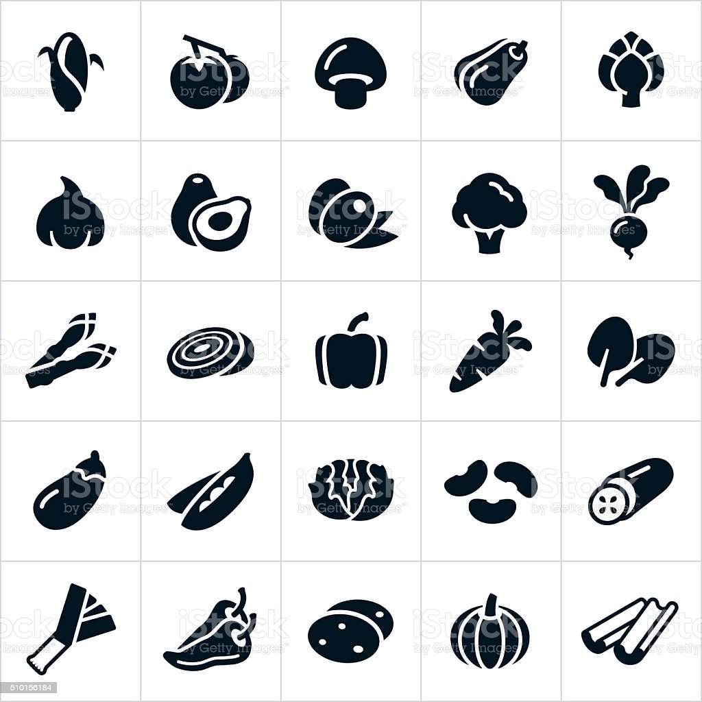 Iconos de vegetales - ilustración de arte vectorial