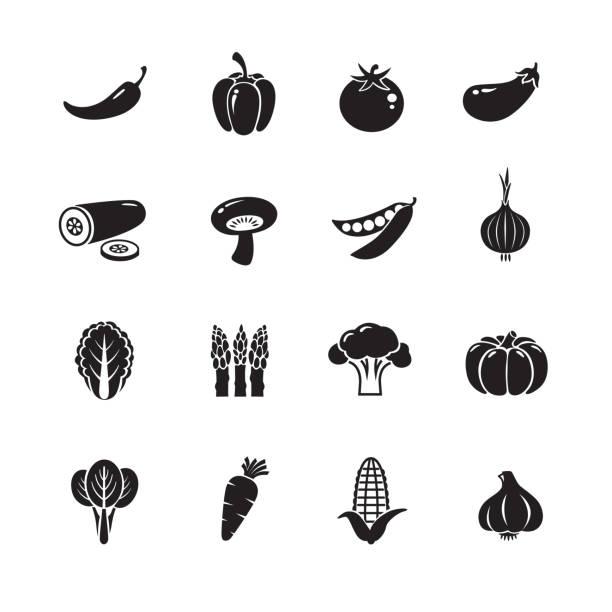illustrazioni stock, clip art, cartoni animati e icone di tendenza di vegetable icons - aglio cipolla isolated