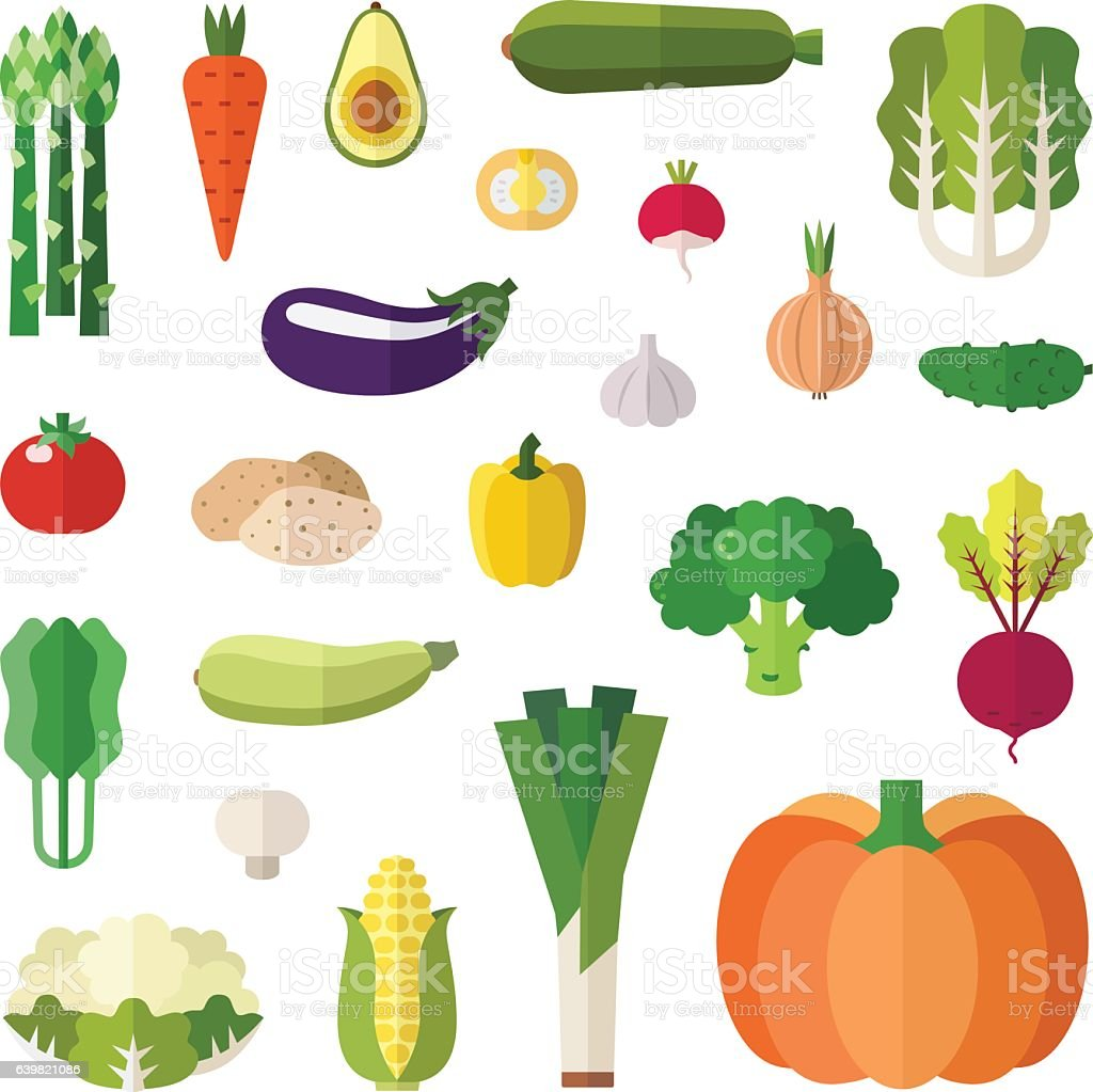 Vegetable icons vector set. Flat style design. vector art illustration