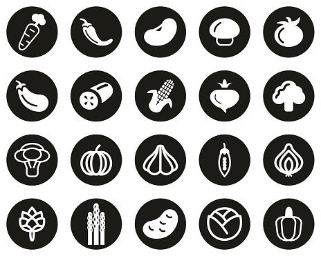 Vegetable Icons White On Black Flat Design Circle Set Big