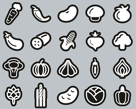 Vegetable Icons White On Black Sticker Set Big