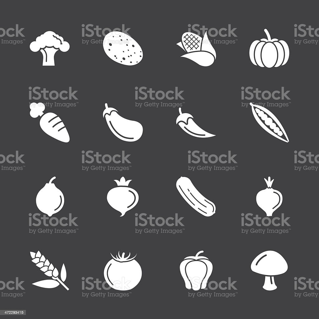Vegetable Icons - White Series | EPS10 vector art illustration